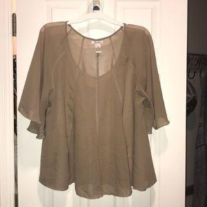 Tan flowy blouse
